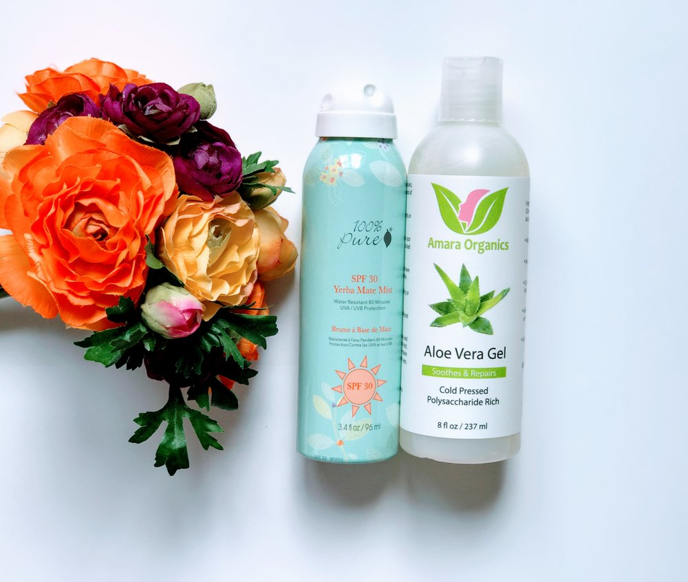 My top two favorite summer products for the sun:  100% Pure Sunscreen with SPF 30  and  Amara Organics Aloe Vera Gel