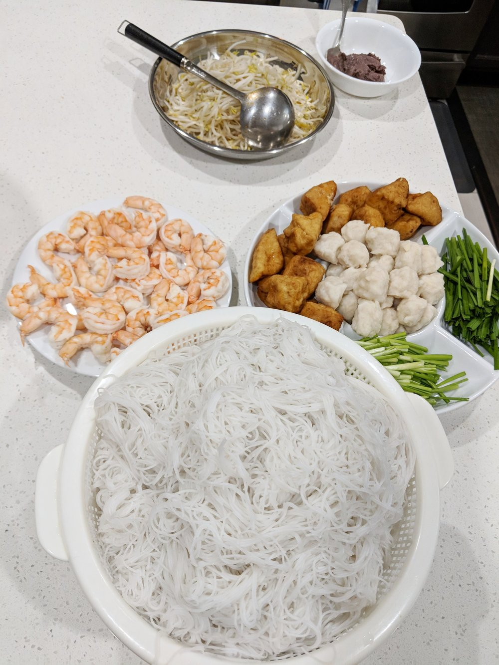 Sample photo of all prepped ingredients in anticipation for the soup bowls