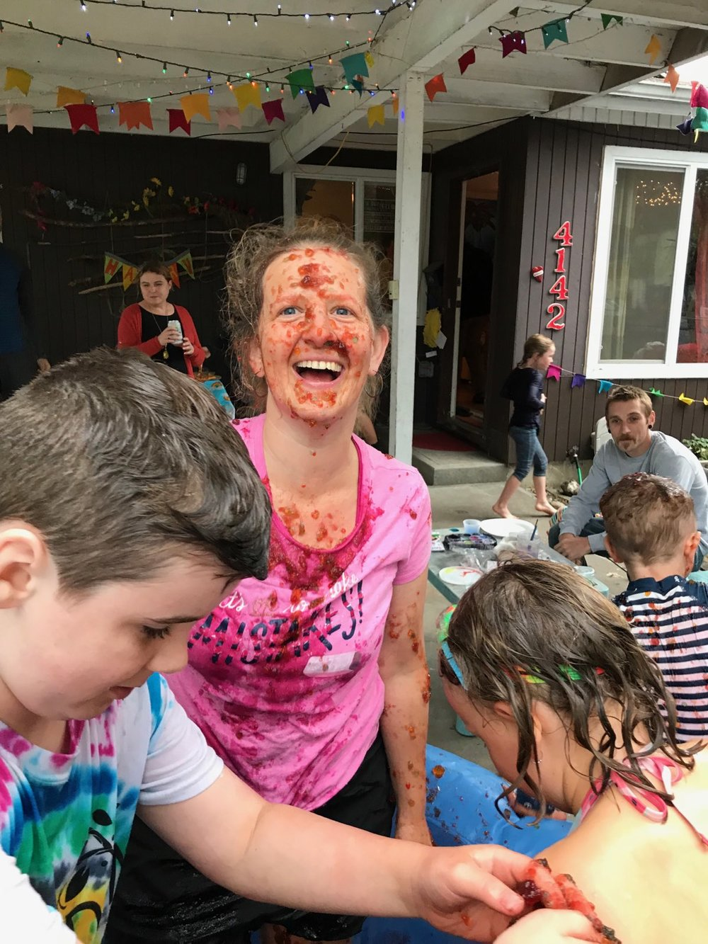 Me, being  not stressed  about being covered in Jell-o at my son's 7th birthday party.  Yep, he still likes getting messy, I've just joined him.