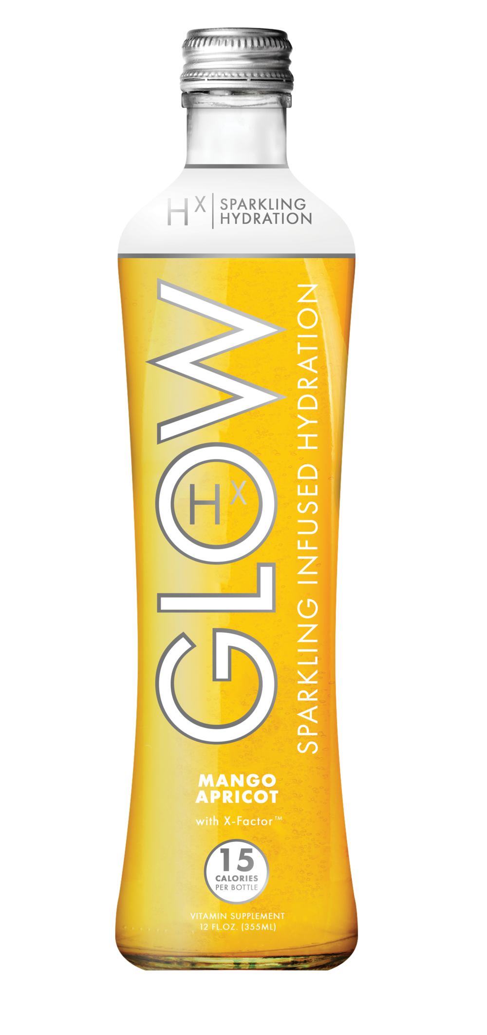 GLOW Sparkling Infused Beverages Hydration Mango Apricot Glass Single Bottle
