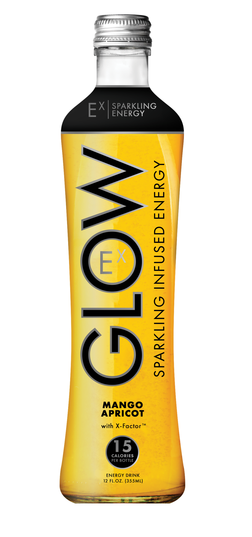 GLOW Sparkling Infused Beverages Energy Mango Apricot Glass Single Bottle