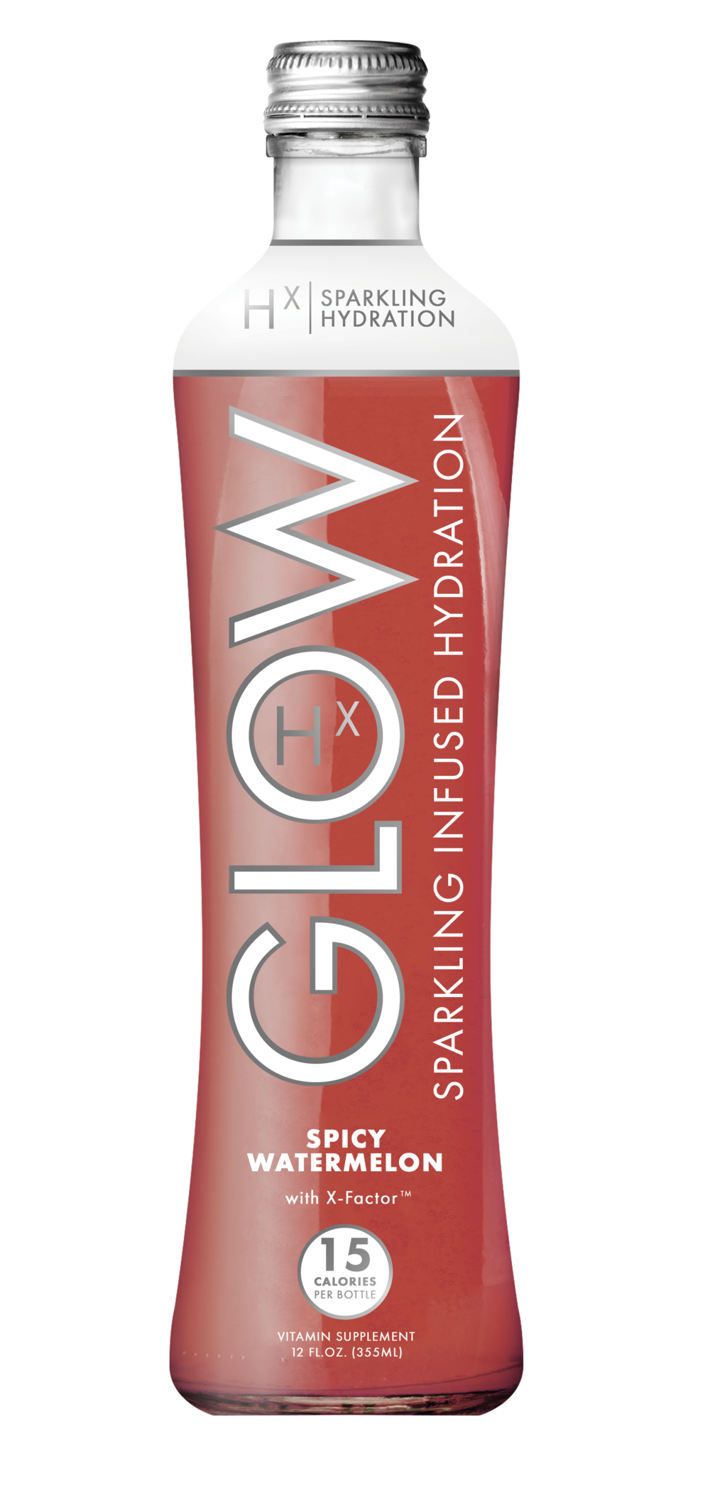 GLOW Sparkling Infused Beverages Hydration Spicy Watermelon Glass Single Bottle