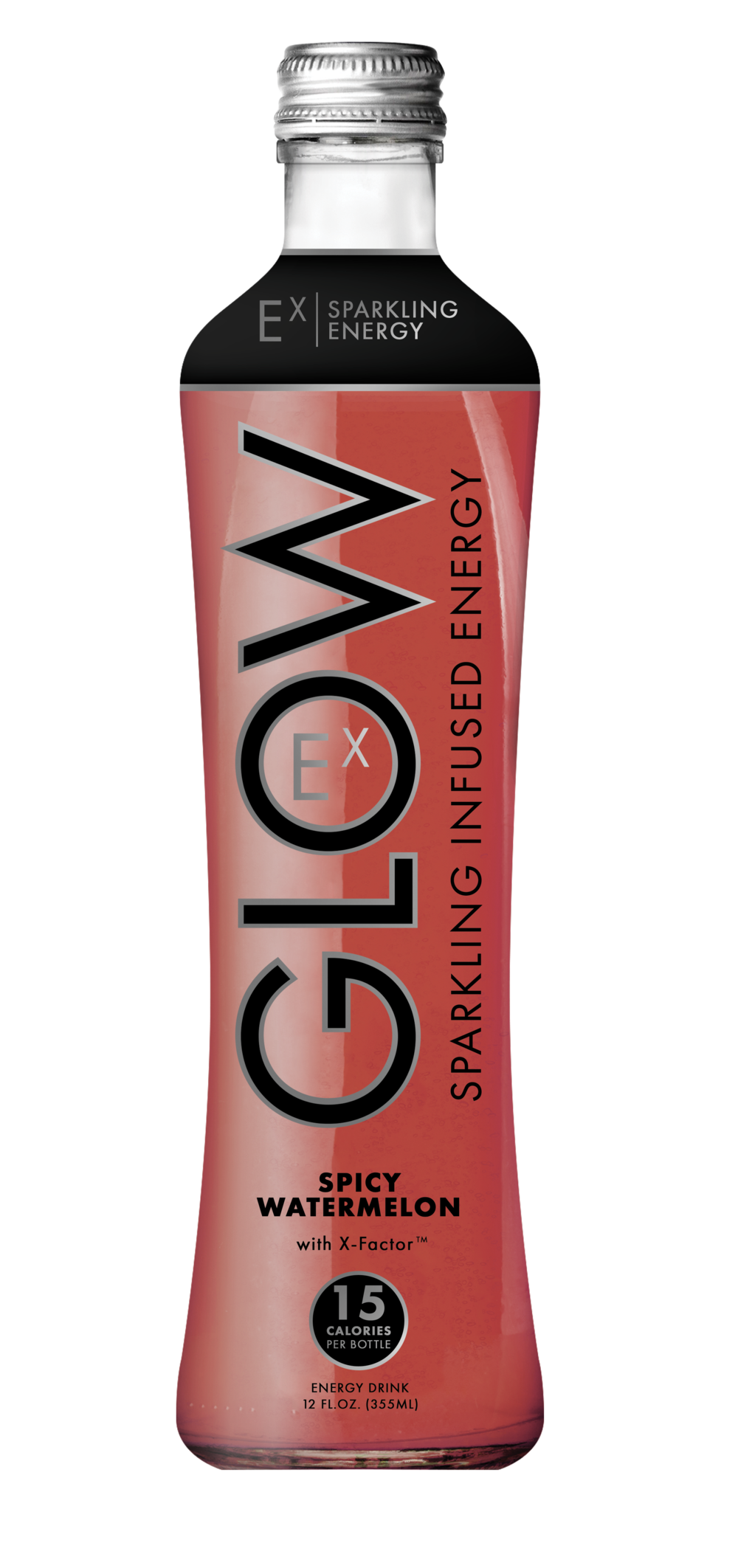 GLOW Sparkling Infused Beverages Energy Spicy Watermelon Glass Single Bottle