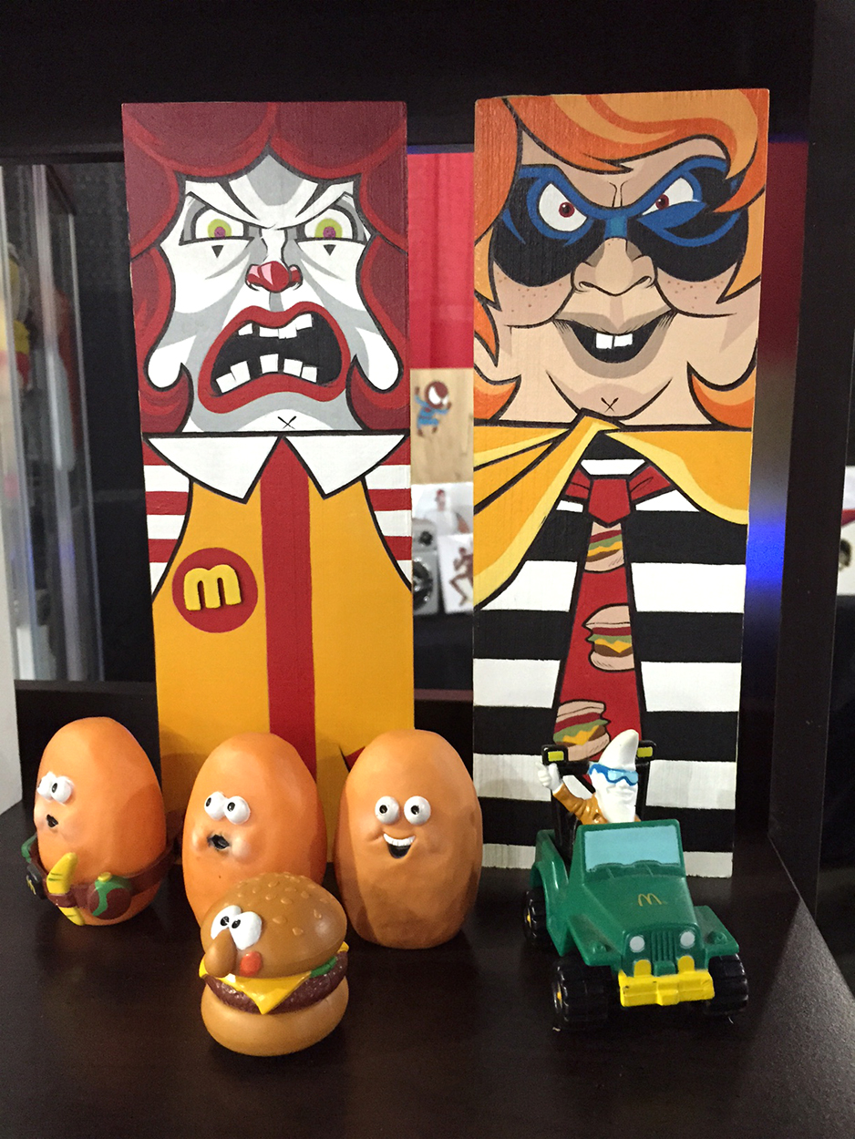Rad Retro McDonald's Blocs.  Hand Painted by Nerdy Chavez.