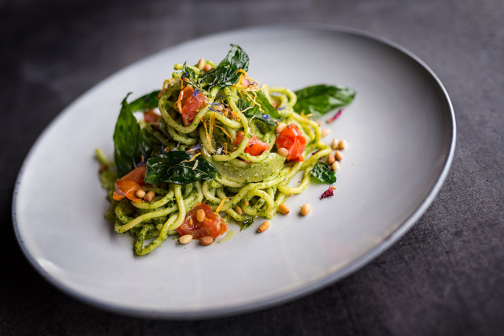 One of Jennie's key dishes:   Hand made spaghetti with pesto tossed with blistered cherry tomatoes, preserved lemon and toasted pine nuts