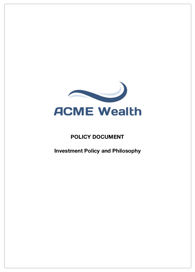 Investment Policy and Philosophy -