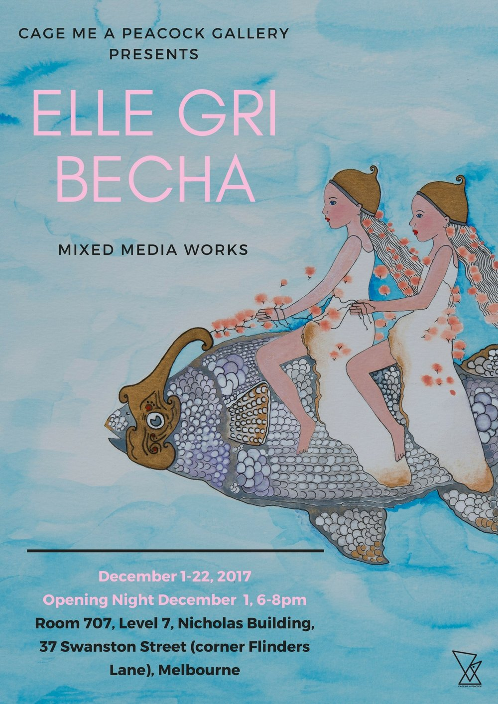 Elle Gri Becha 'Playgrounds in Watercolours' - 1 December - 22 December 2017Opening celebrations 6-8pm 1 DecemberPlaygrounds in Watercolour, explores the concept of characters and symbols that develop into narratives.
