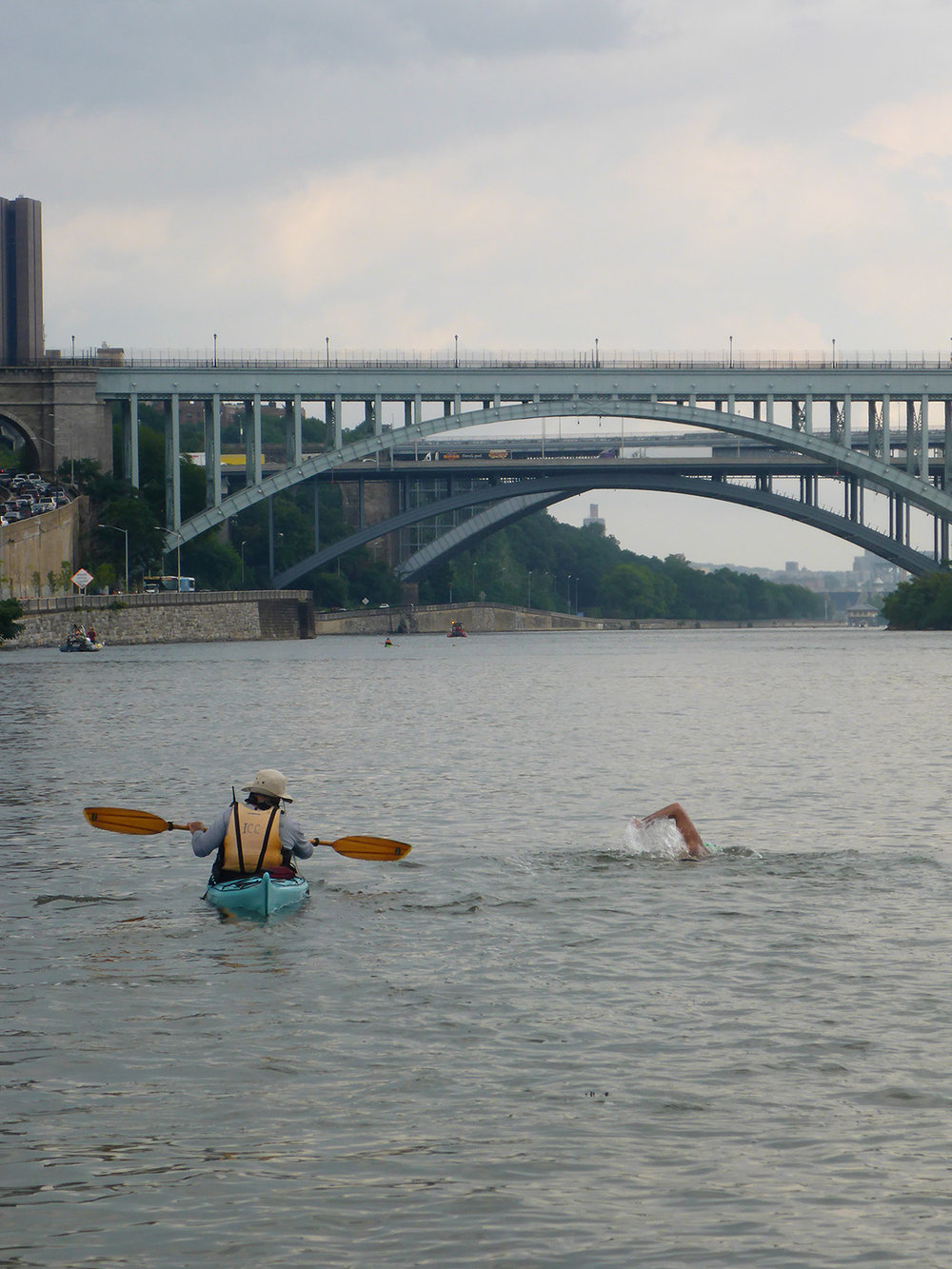 Swimming towards the High Bridge and the Alexander Hamilton Bridge in the Harlem River