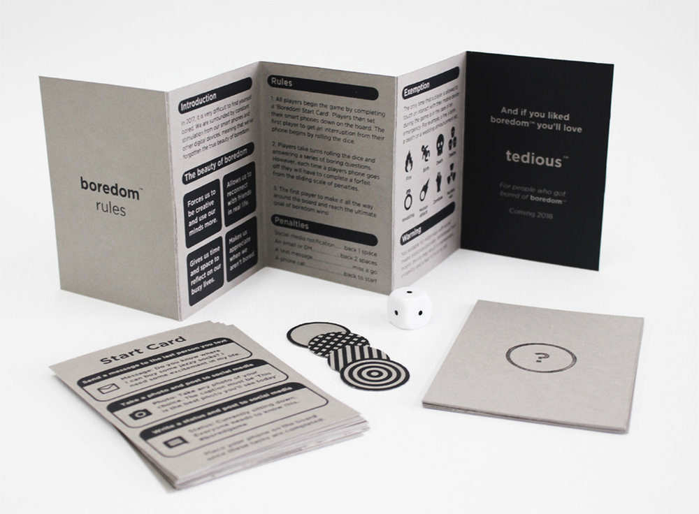 The rules, start & question cards, dice & counters - printed black on Grey millboard