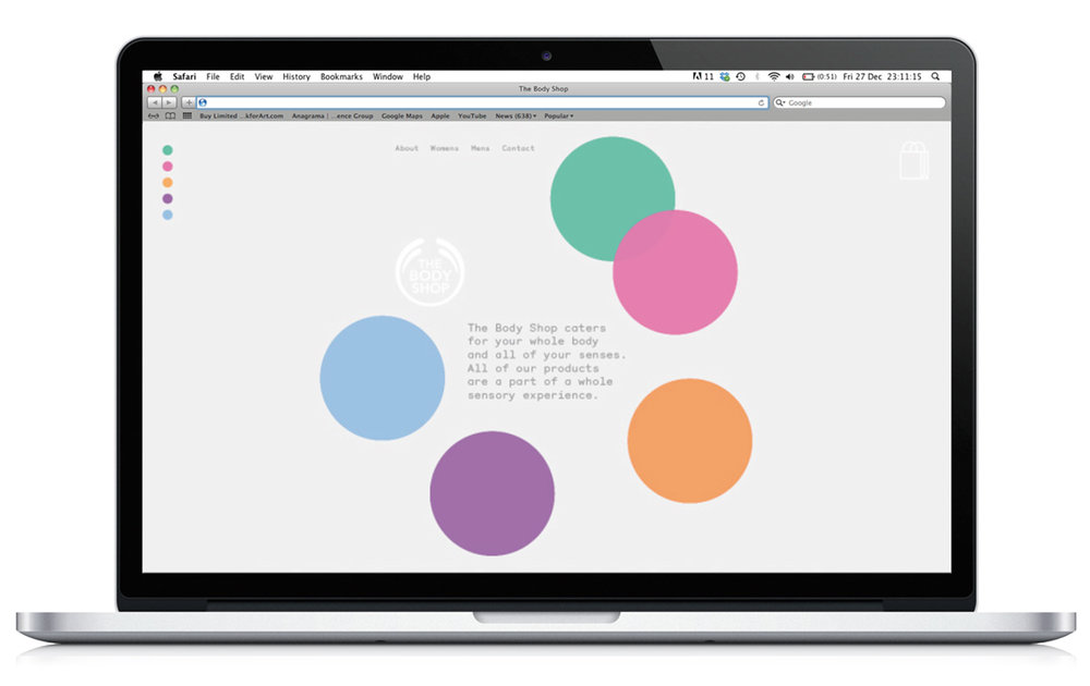 Web Navigation - Simple coloured circles denoting the different senses.