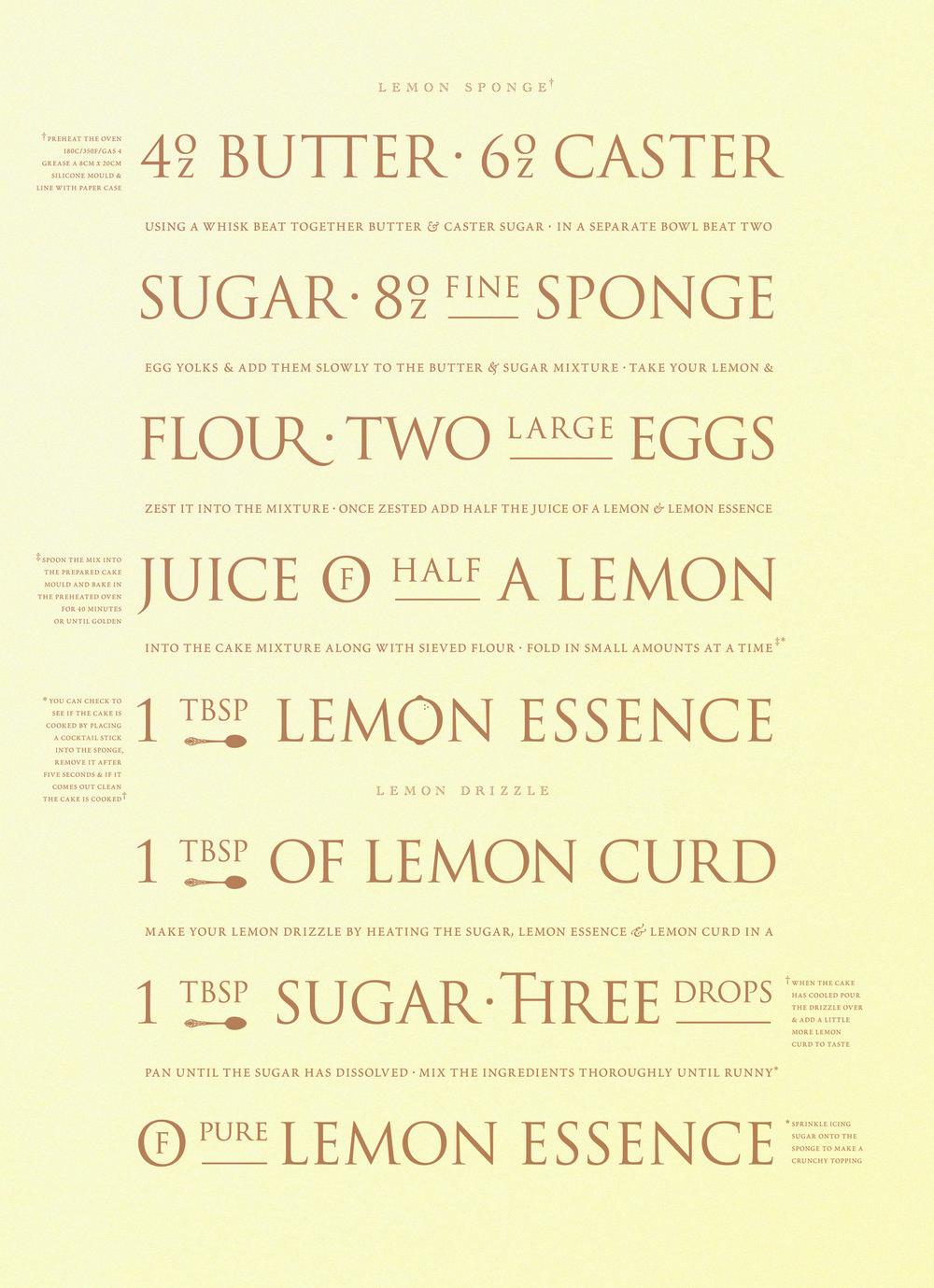 The recipe for his Grannies Lemon Sponge.