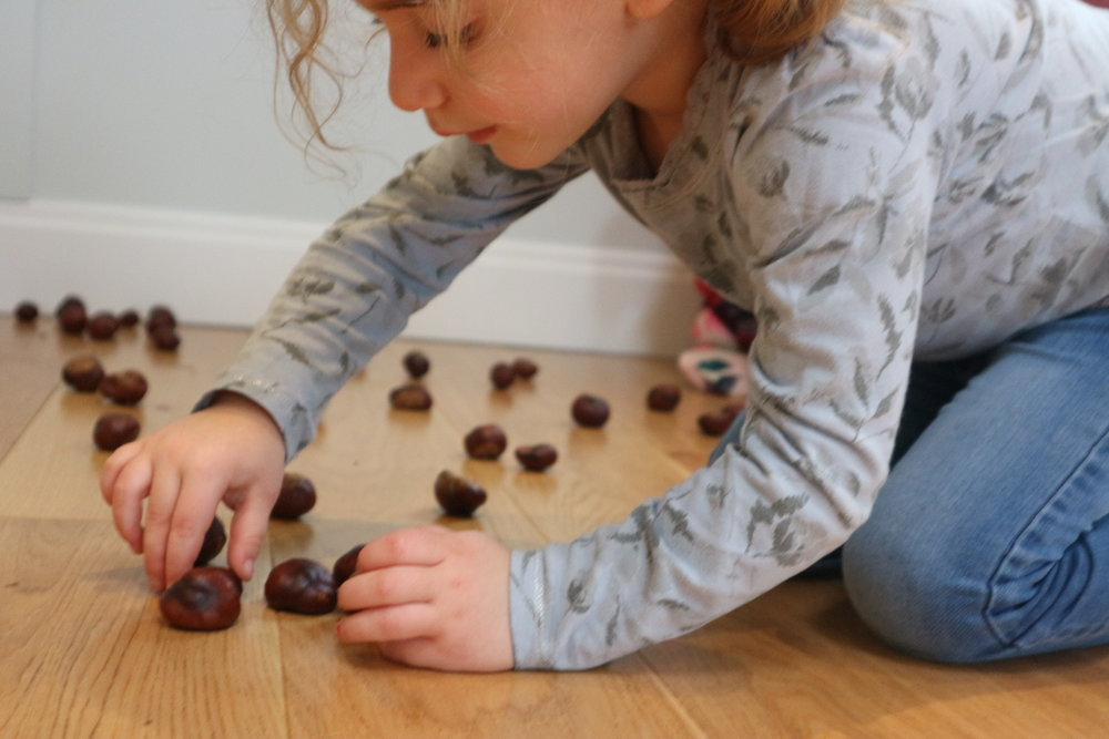 Exploring what a conker can do - Spinning, placing, ordering, balancing, rolling…