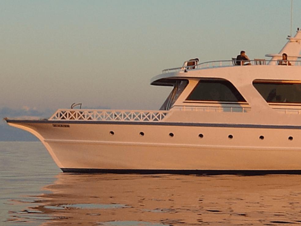 - Nuestro barco, de 28m de longitud y 9m de anchura,tiene 7 cabinas que pueden acomodar hasta a 14 personas. Dispone de un gran Solarium, bar, dos restaurantes con áreas de comedor interior y exterior y comida internacional, y Sala con TV.