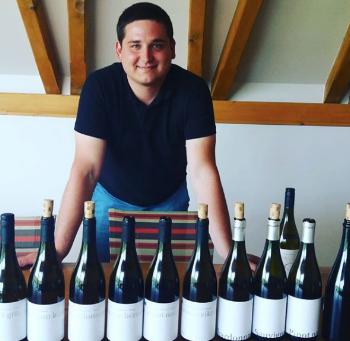 Winemaker Ondřej Dubas in the tasting room of Moravian winery    Krásná hora .