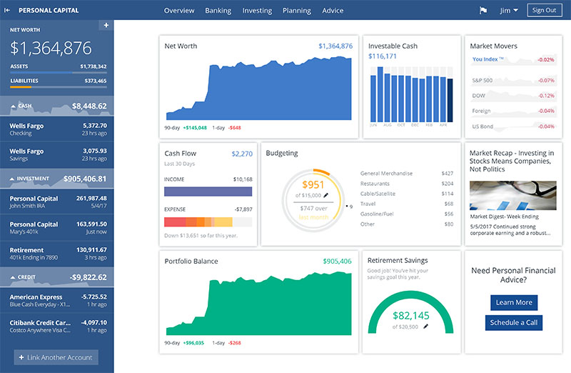 The PersonalCapital dashboard, including net worth graph (not mine)