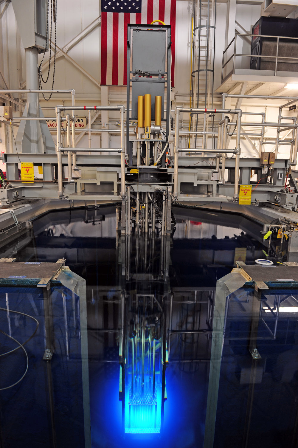 Penn State's Breazeale Nuclear Reactor. The blue light you see coming off the reactor core is known as  Cherenkov radiation .