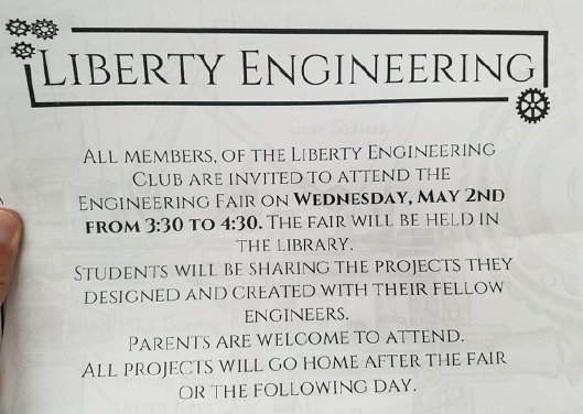 Student & Parent Flyer for The Liberty Elementary Engineering Club