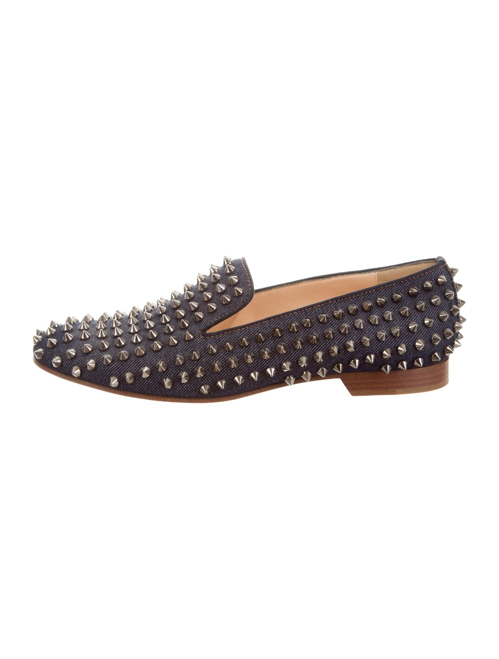 Christian Louboutin Denim Rolling Spikes Loafers