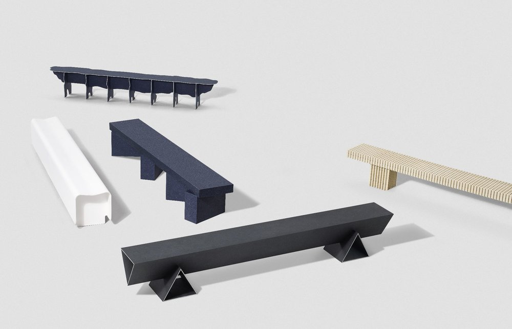 Solid Textile Board Benches by Max Lomb for Really and Kvadrat