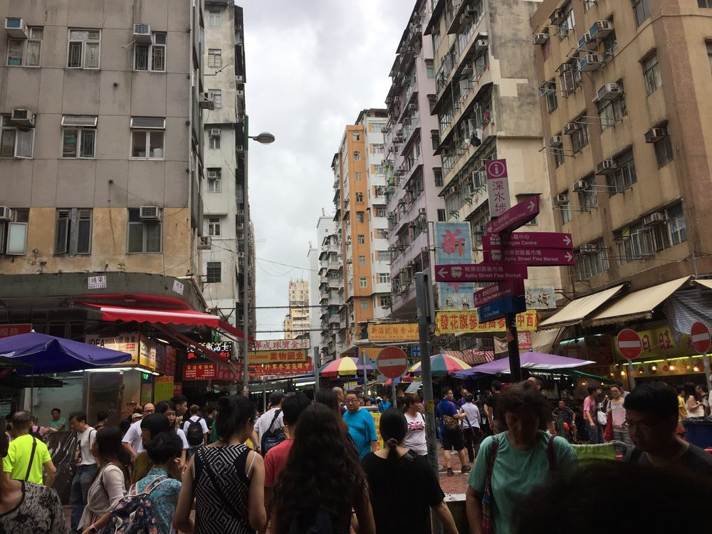 A busy day in Sham Shui Po, a one stop shop for everything from fabric to fidget spinners.