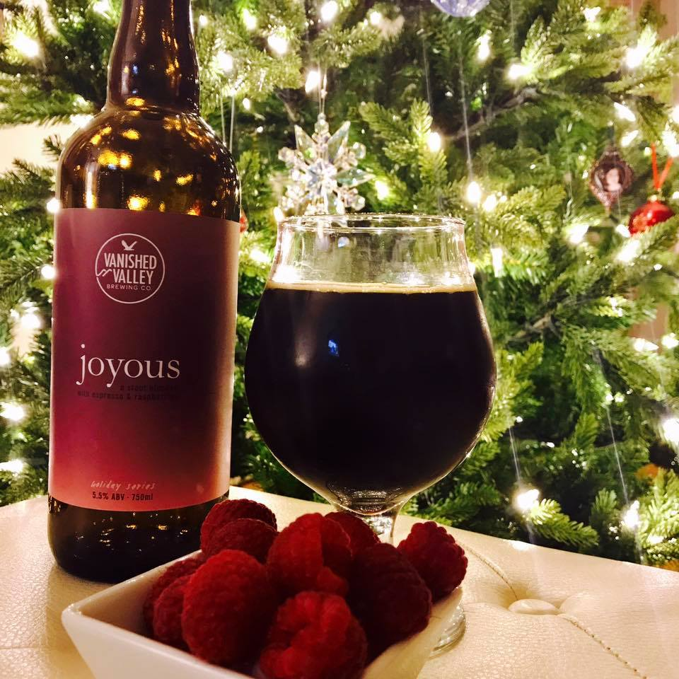 JOYOUS 2017! A smooth chocolate milk stout conditioned on espresso and raspberry.