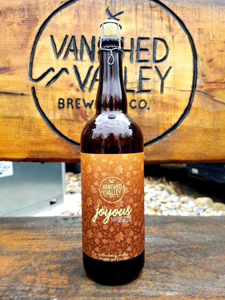 JOYOUS 2018! This year's Joyous is a stout aged on roasted chestnuts, cloves, and Ceylon cinnamon .