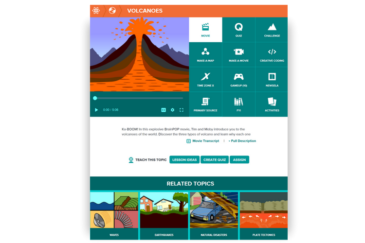 Volcanoes on BrainPOP