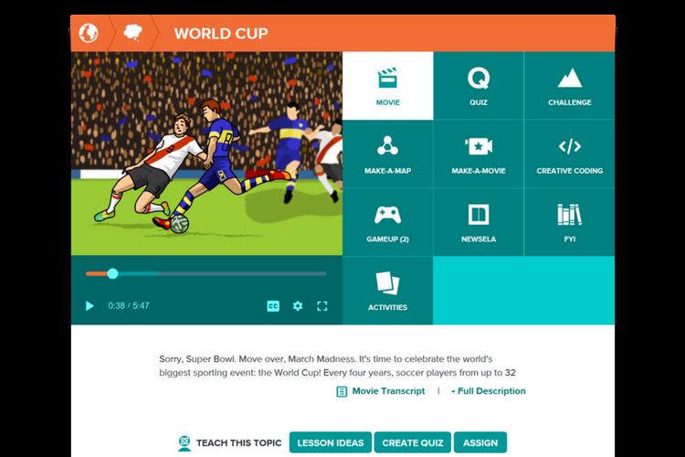 World Cup resources on BrainPOP