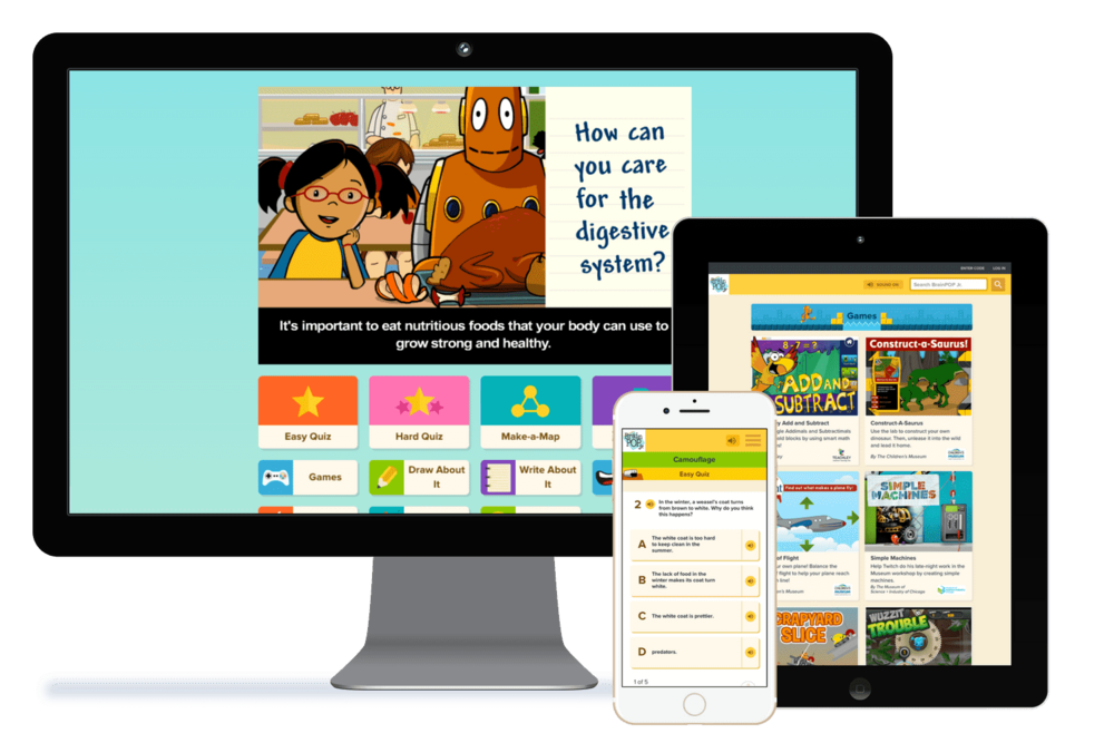 The BrainPOP family - Many of our primary customers reap the benefits using both BrainPOP Jr. + BrainPOP at school and home*.