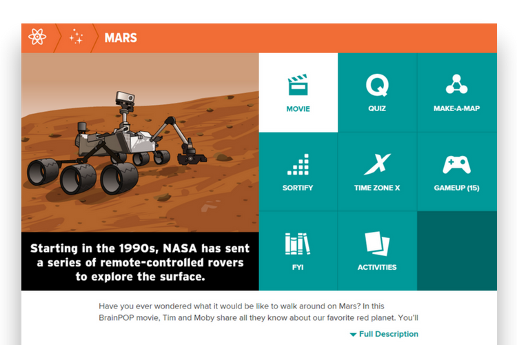 Mars topic on BrainPOP
