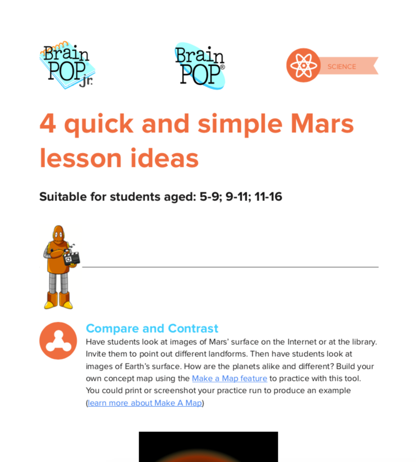 4 quick and simple Mars lesson ideas - A simple pick up and play set of lesson stimulus for all ages