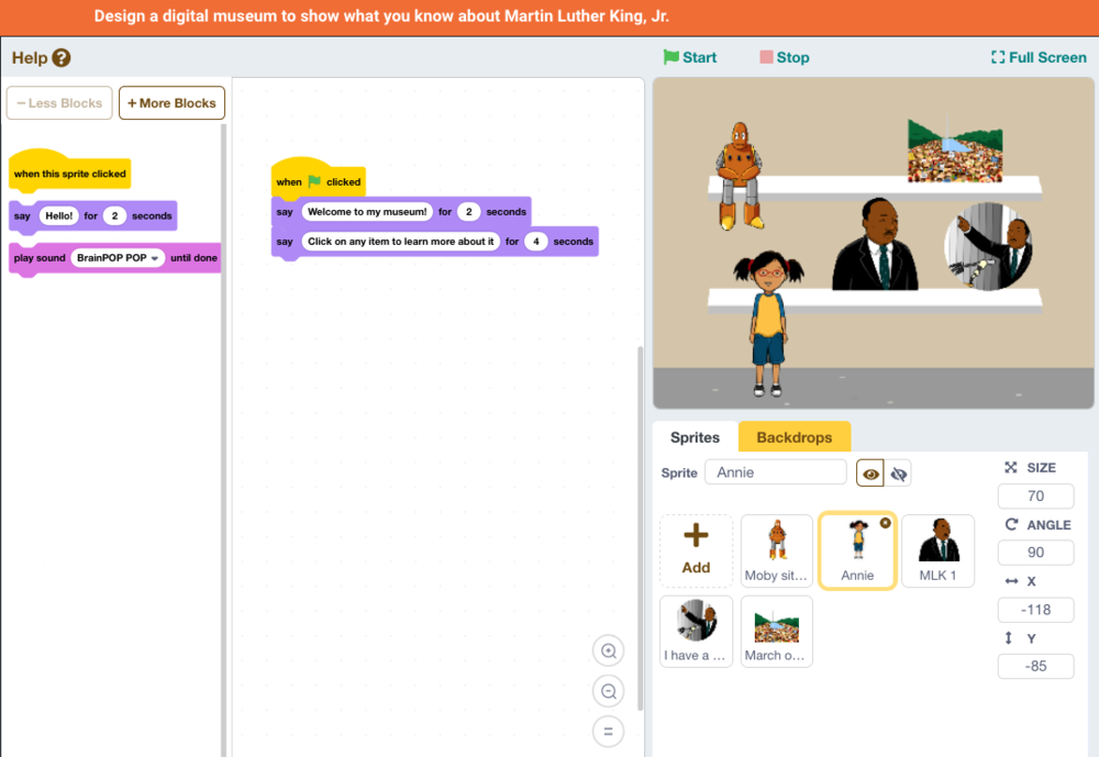 Martin Luther King Jnr Scratch coding activity