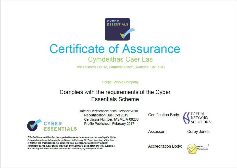 Cyber Essentials Certificate 2018