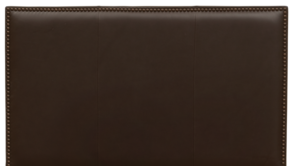 Highland Headboard - Shown in Mesa Espresso leather with antique brown nail heads