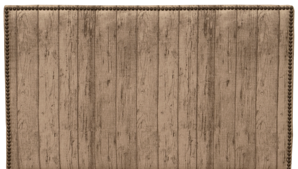 Highland Headboard - Shown in Wood Plank fabric with antique brown nail heads