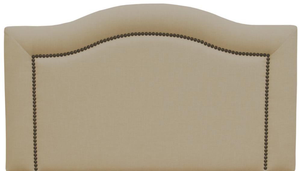 Ridge Headboard - Shown in Linen Natural with antique brown nail heads