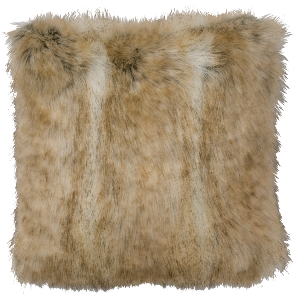 Canadian Stone Fox Faux Fur Pillow - 18