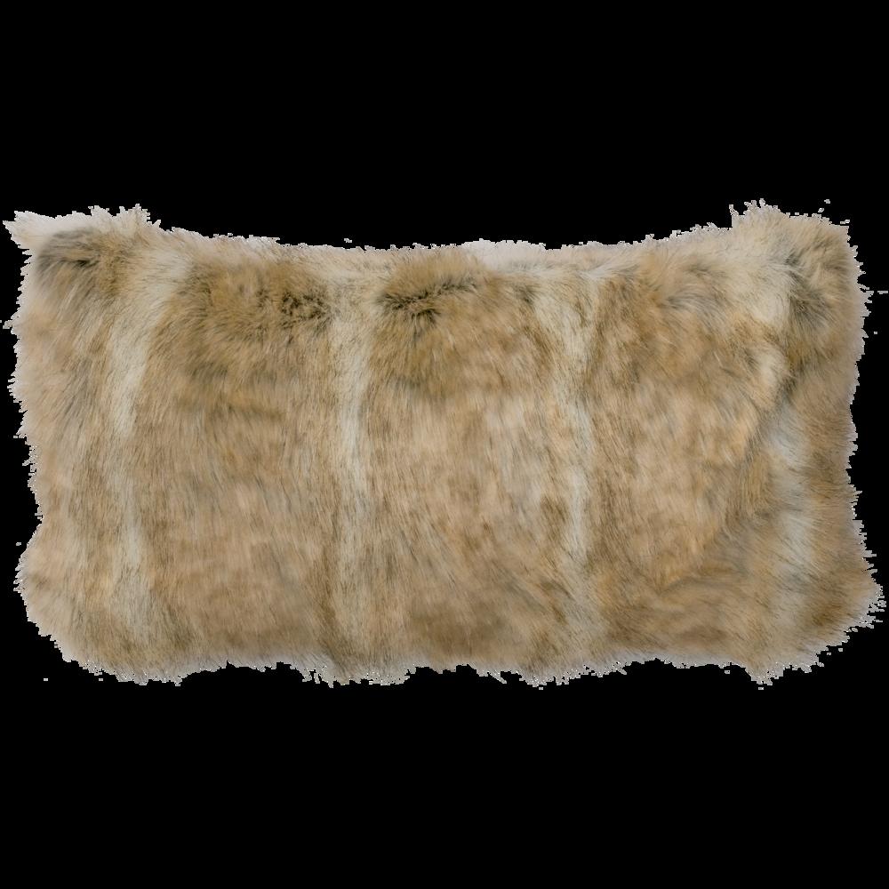 Canadian Stone Fox Faux Fur Pillow - 14