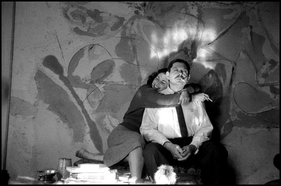 New York, New York. 1957. Helen Frankenthaler and David Smith in Frankenthaler's studio.