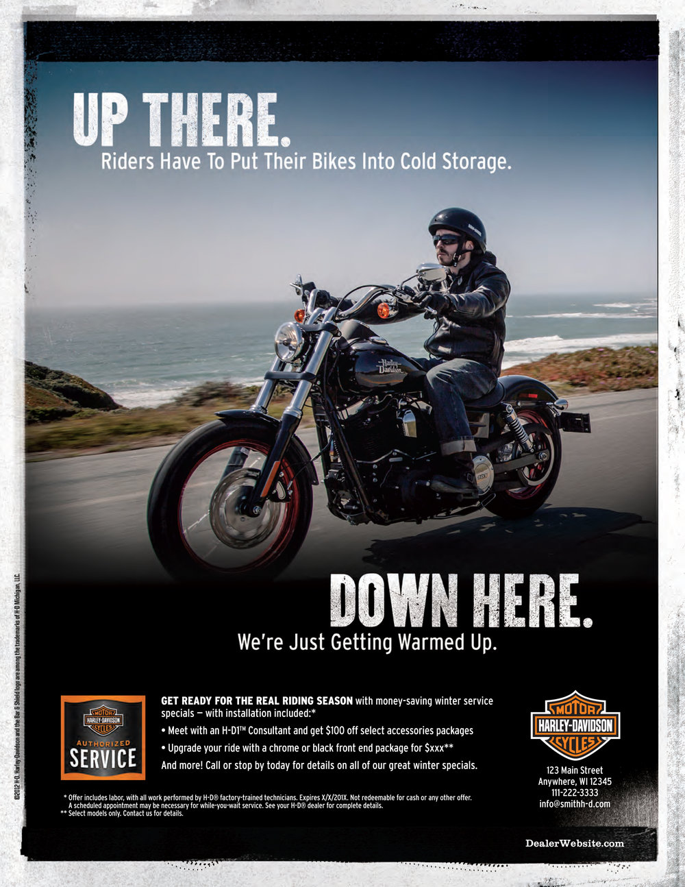 HARLEY-DAVIDSON   Design and production for service campaigns that included ads, hang tags, postcards & banner ads.