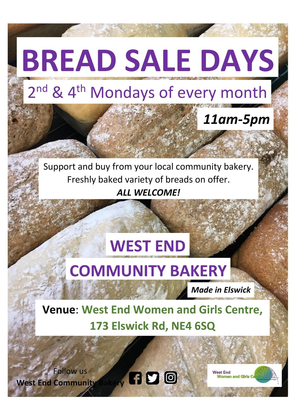 Come and get your fresh bread! - West End Community Bakery is excited to establish a monthly bread sale day, on the 2nd & 4th Mondays of every month, 11am-5pm!A variety of freshly baked breads will be available on the day, including white, brown, mozzarella and tomato, large and mini loaves. Have a request to make? Don't be shy!Dates:Monday 11th JuneMonday 25th JuneMonday 9th JulyMonday 23rd JulyMonday 13th August*Monday 10th SeptemberMonday 24th SeptemberMonday 8th OctoberMonday 22nd OctoberMonday 12th NovemberMonday 26th NovmeberMonday 10th December*** only one August date due to Bank Holiday on Monday 27th August      **only one December date due to Christmas EveBe kind and share this event!