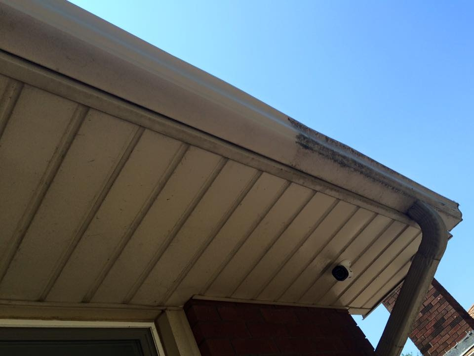 Eaves and fascia were cleaned with environmentally friendly cleaning products