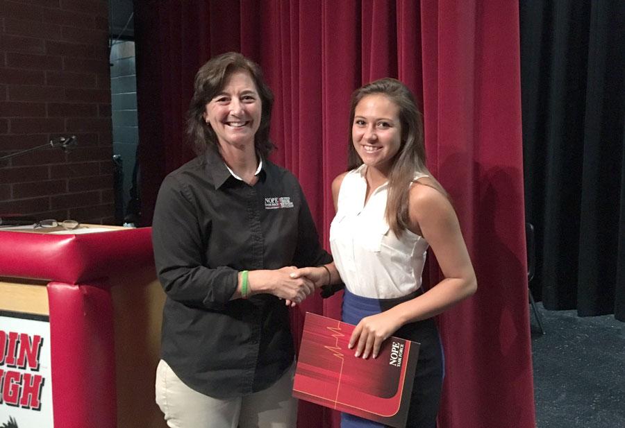 2016 scholarship winner Mia Porter, pictured with NOPE scholarship chairman Susan Korabek at Dunedin High.