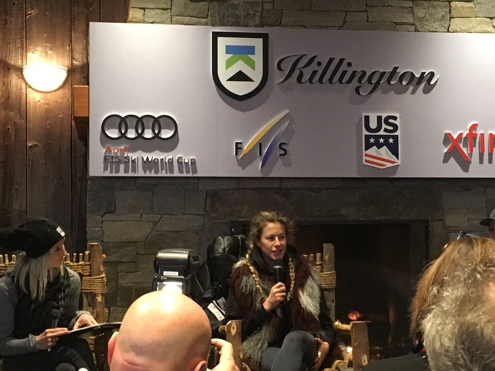 U.S.A.'s Resi Stiegler at a press conference ahead of the Killington FIS World Cup, 2017.