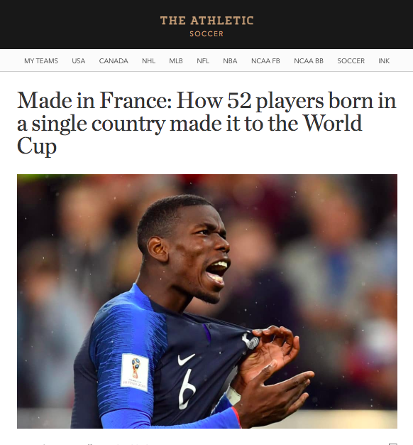 The Athletic   .  Read more coverage of Les Bleus during the 2018 World Cup at   The Athletic  .