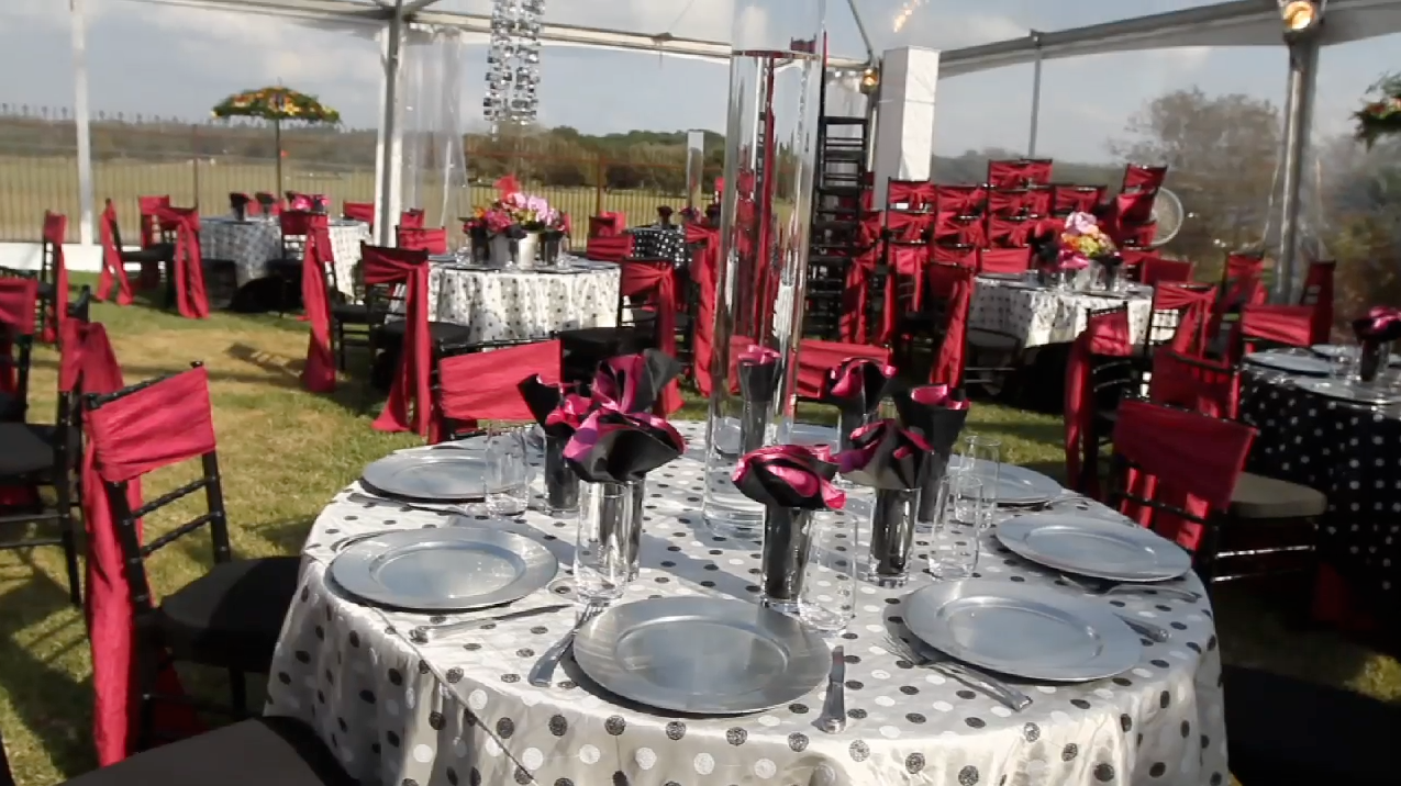 Austin Wedding Wild Onion Ranch Pic 03 reception decor pink black polka dot