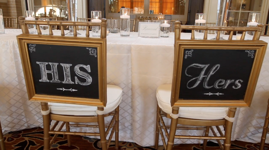 dfw events dallas union station wedding pic 21 chair sign his hers