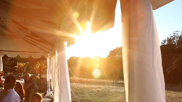 The Flare Outside the tent, screen grab from sonoma wedding video