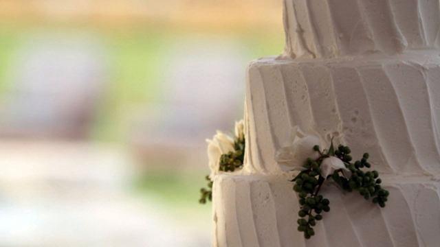 Wedding cake as shot by Austin wedding videographer