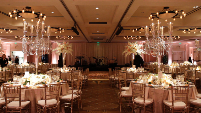 gorgeous champagne gold pink and crystal tutera style decor